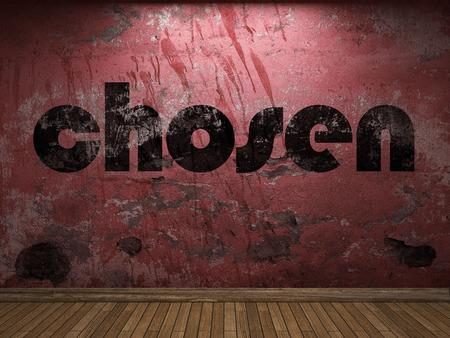 chosen: chosen word on red wall Stock Photo