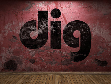 dig: dig word on red wall