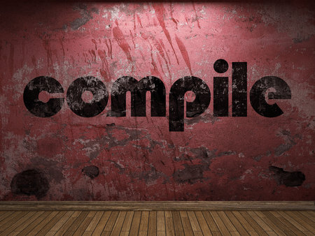 compile: compile word on red wall
