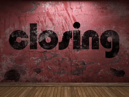 closing: closing word on red wall Stock Photo