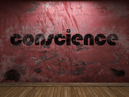 conscience: conscience word on red wall