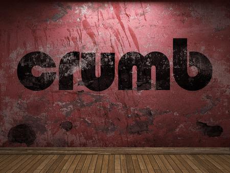 crumb: crumb word on red wall Stock Photo