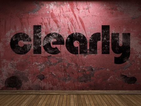 clearly: clearly word on red wall
