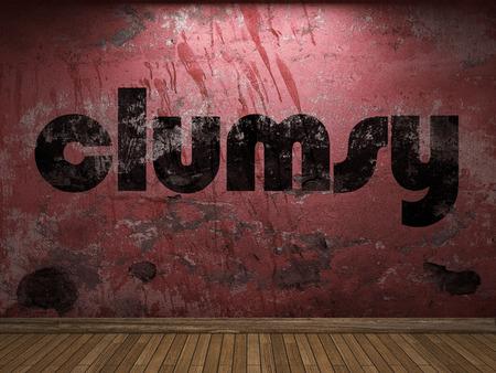 maldestro: parola goffo sulla parete rossa Archivio Fotografico