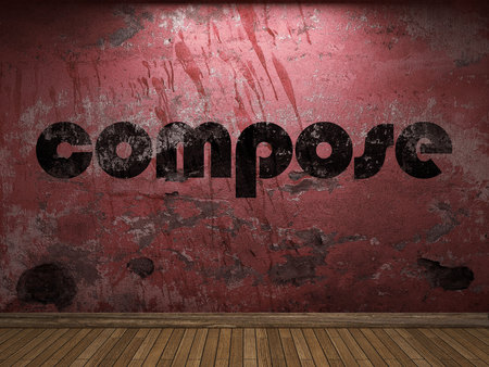 compose: compose word on red wall