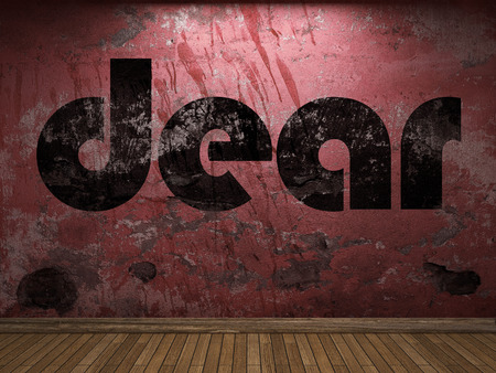 dear: dear word on red wall