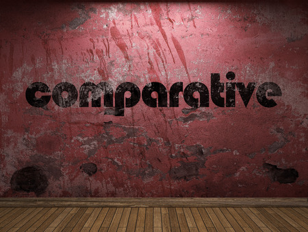 comparative: comparative word on red wall Stock Photo