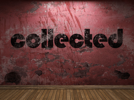 collected: collected word on red wall Stock Photo