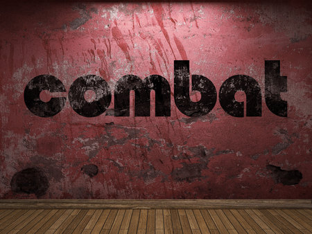 combat: combat word on red wall Stock Photo