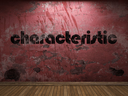 characteristic: characteristic word on red wall Stock Photo