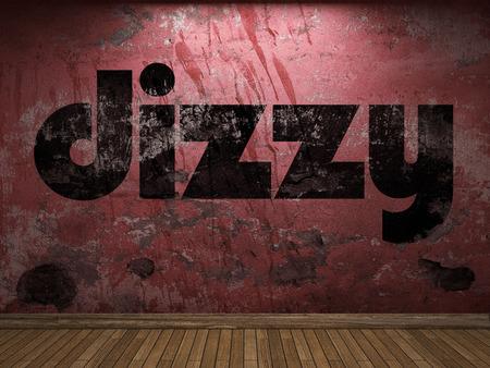 dizzy: dizzy word on red wall
