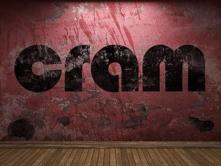cram: cram word on red wall