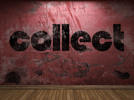 collect: collect word on red wall