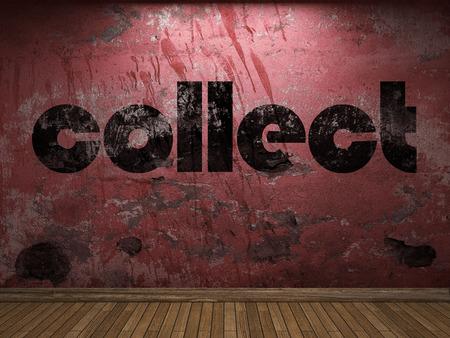 recoger: recoger la palabra en la pared roja Foto de archivo