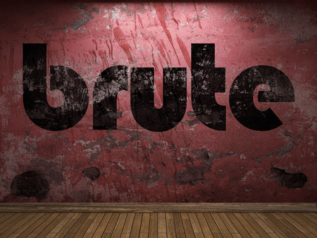 brute: brute word on red wall Stock Photo