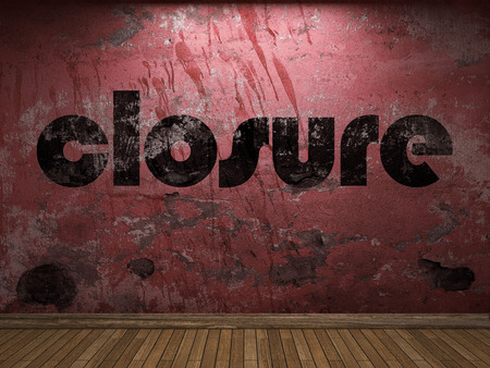 closure: closure word on red wall