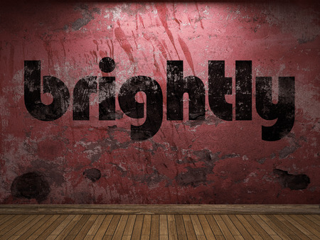 brightly: brightly word on red wall Stock Photo