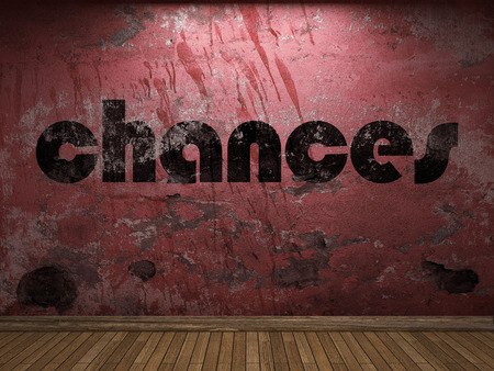 chances: chances word on red wall Stock Photo