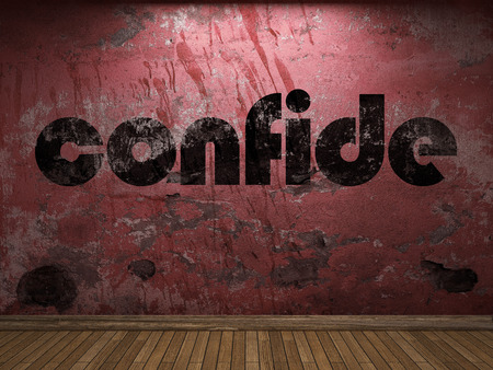 confide: confide word on red wall