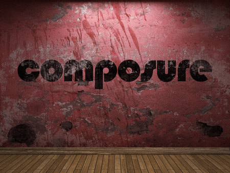 composure: composure word on red wall