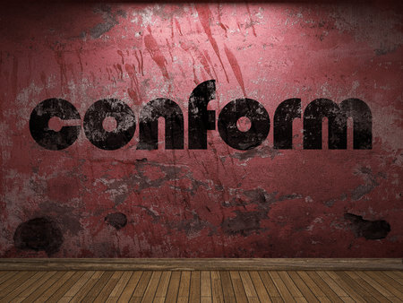 conform: conform word on red wall