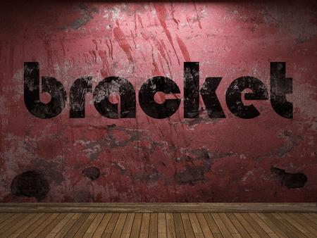 bracket: bracket word on red wall Stock Photo