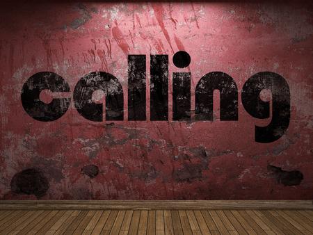 llamando: llamando palabra en la pared roja
