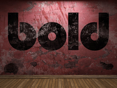 bold word on red wall