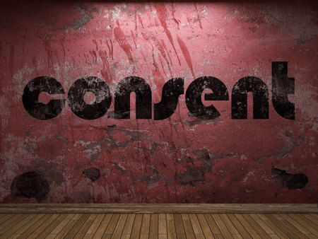consent: consent word on red wall Stock Photo
