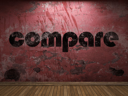 compare: compare word on red wall