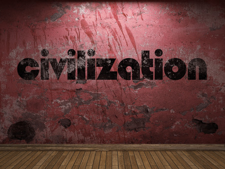 civilization word on red wall Stock Photo