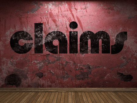 claims: claims word on red wall Stock Photo