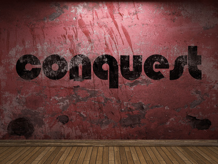 conquest: conquest word on red wall