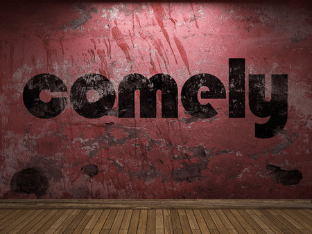 comely: comely word on red wall