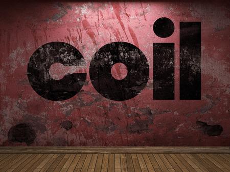 bobina: palabra de la bobina en la pared roja