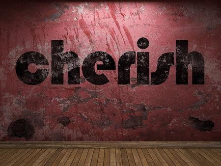 curare teneramente: amare la parola sul muro rosso Archivio Fotografico