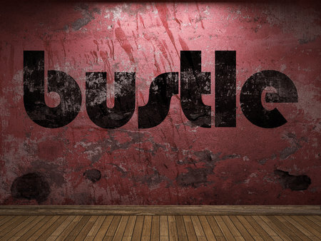bustle: bustle word on red wall Stock Photo