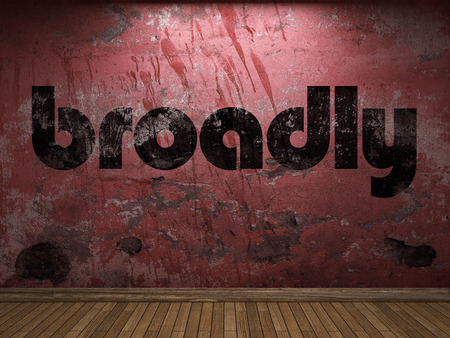 broadly: broadly word on red wall Stock Photo