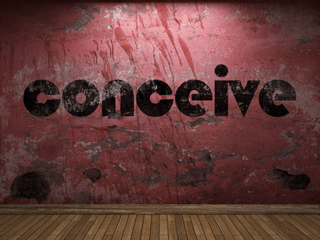 conceive: conceive word on red wall Stock Photo
