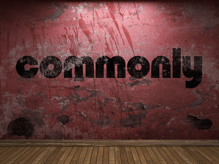 commonly: commonly word on red wall