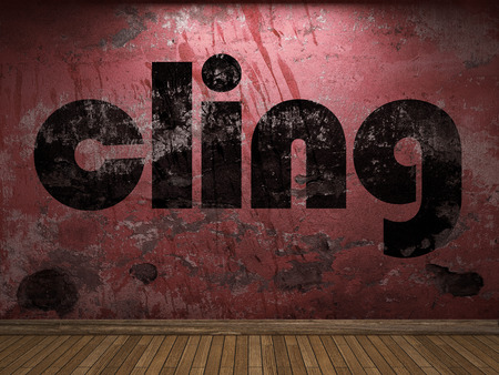 cling: cling word on red wall