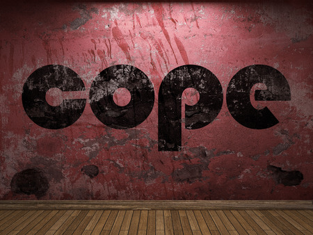 cope: cope word on red wall Stock Photo