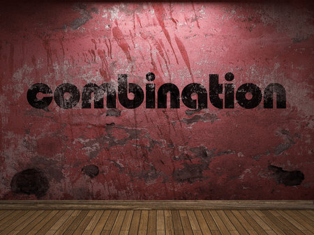 combination: combination word on red wall Stock Photo