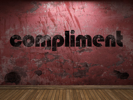 compliment: compliment word on red wall