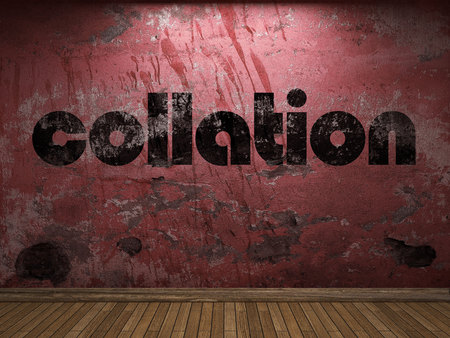 collation: collation word on red wall Stock Photo
