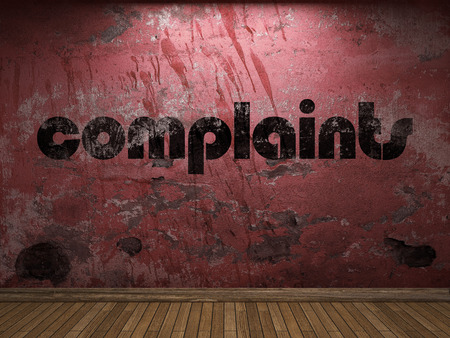 complaints: complaints word on red wall