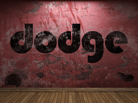 dodge: dodge word on red wall