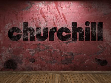 churchill: churchill word on red wall Stock Photo