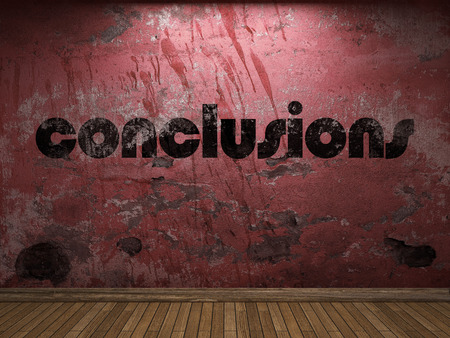 conclusions: conclusions word on red wall