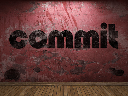 commit: commit word on red wall